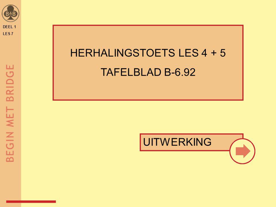 DEEL 1 LES 7 ♠ 9 5 ♥ A V B 9 2 ♦ A 9 ♣ V 10 9 3 ♠ A 9 8 4 3 ♥ A 5 ♦ H 6 2 ♣ A 5 4 ♠ A 8 6 ♥ H 8 5 ♦ 8 6 4 ♣ B 7 4 2 ♠ H V B 2 ♥ 8 7 6 ♦ V B 4 ♣ 9 7 3 N W O Z N W O Z 1 5 1 0 ♣ AH weg  2 2 1 ♥ troef ♠ troef 5 1 0 1 ♦A weg  2 TAFELBLAD B-6.92 Vaste slagen Werkkleur H-TOETS LES 4+5 – VRAAG 1 + 2