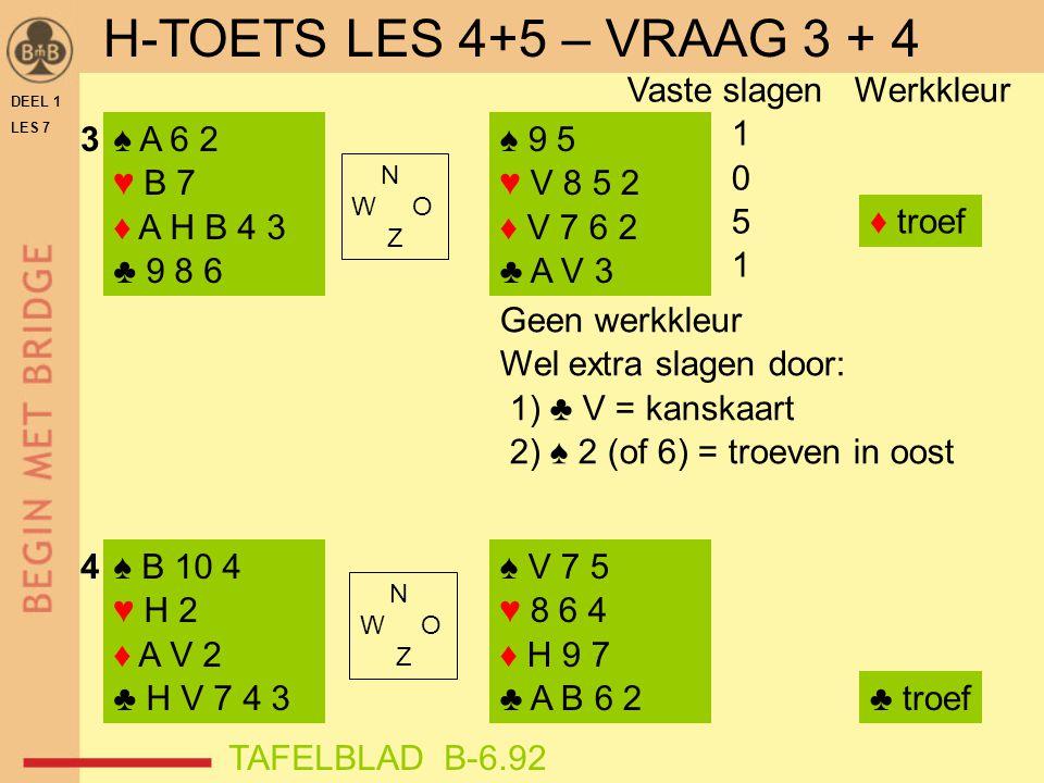 DEEL 1 LES 7 ♠ B 10 4 ♥ H 2 ♦ A V 2 ♣ H V 7 4 3 ♠ A V 8 3 ♥ H 9 2 ♦ A 4 ♣ V 7 5 4 ♠ V 7 5 ♥ 8 6 4 ♦ H 9 7 ♣ A B 6 2 ♠ H B 2 ♥ V 8 6 ♦ 7 6 5 ♣ A 9 3 2 N W O Z N W O Z Vaste slagen Werkkleur 0 ♠ AH weg  1 0 3 5 4 5 ♣ troef Hier werkkleurtje Mogelijk extra slag door: ♥ H = kanskaart Kanskaart .