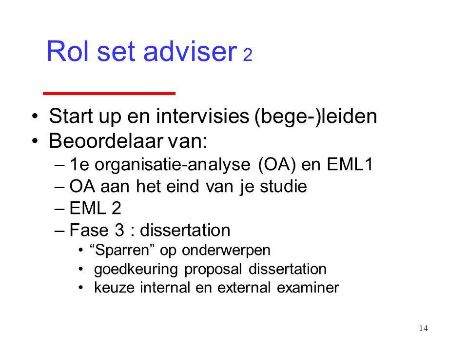 14 Start up en intervisies (bege-)leiden Beoordelaar van: –1e organisatie-analyse (OA) en EML1 –OA aan het eind van je studie –EML 2 –Fase 3 : dissert