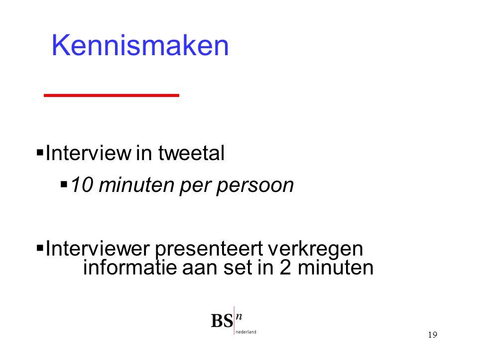 19 Kennismaken  Interview in tweetal  10 minuten per persoon  Interviewer presenteert verkregen informatie aan set in 2 minuten