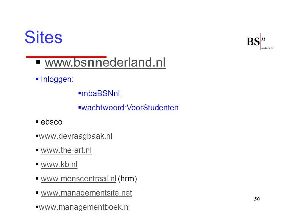 50 Sites  www.bsnnederland.nlwww.bsnnederland.nl  Inloggen:  mbaBSNnl;  wachtwoord:VoorStudenten  ebsco  www.devraagbaak.nl www.devraagbaak.nl 