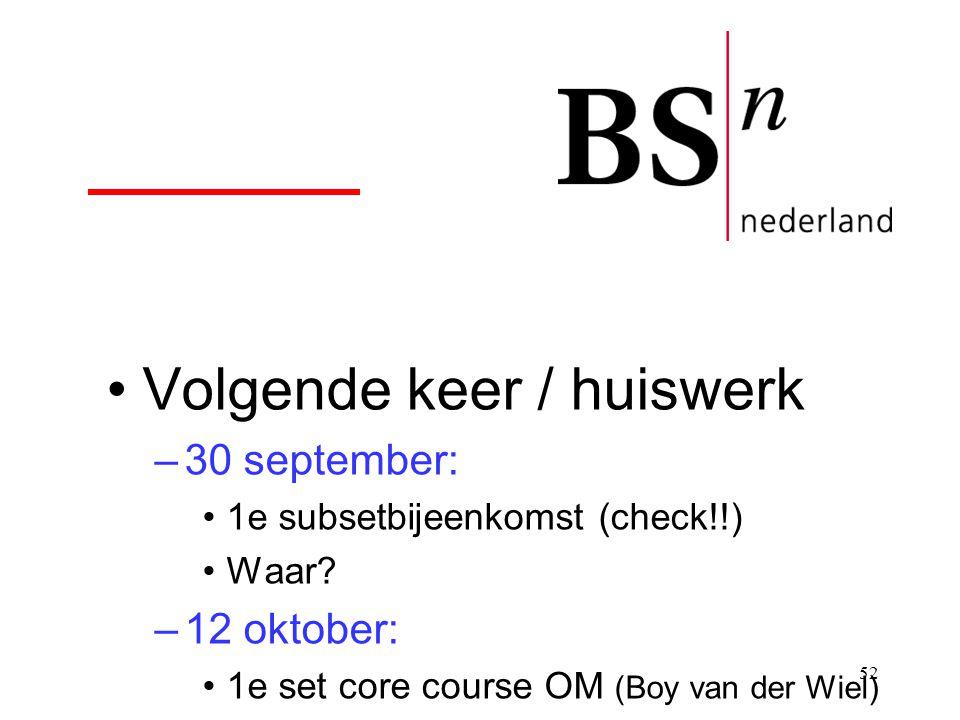 52 Volgende keer / huiswerk –30 september: 1e subsetbijeenkomst (check!!) Waar? –12 oktober: 1e set core course OM (Boy van der Wiel)