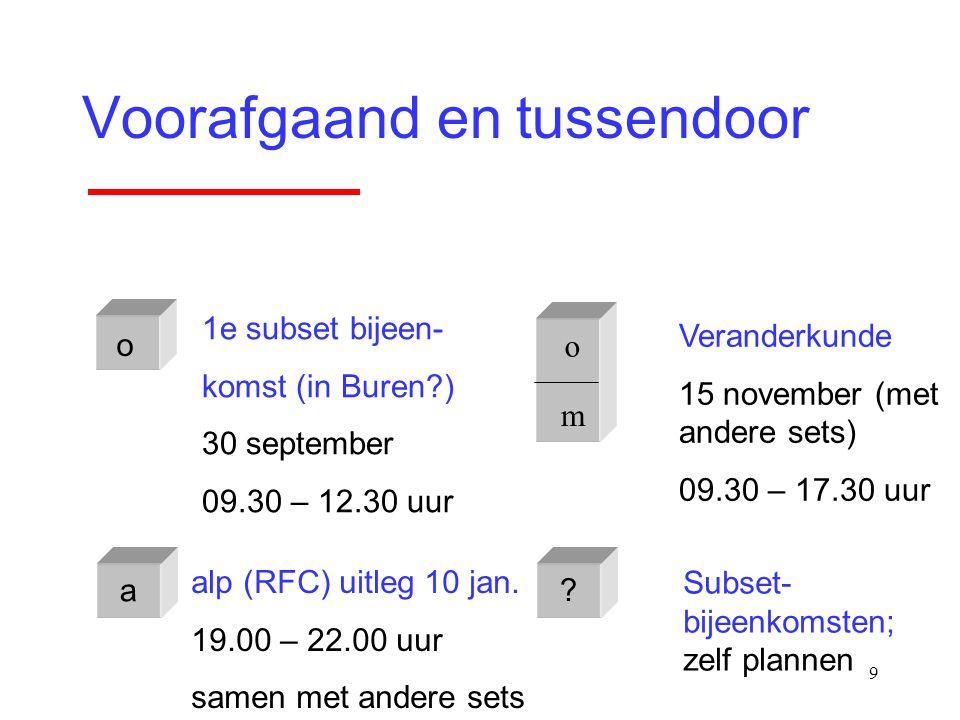 9 Voorafgaand en tussendoor o m o 1e subset bijeen- komst (in Buren?) 30 september 09.30 – 12.30 uur Veranderkunde 15 november (met andere sets) 09.30