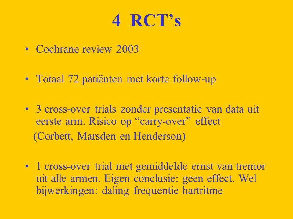 CONCLUSIE 4 RCT's: 72 patiënten, korte follow up (2d – 6 weken) met onvolledige presentatie van gegevens en tevens enige bijwerkingen Bij gebrek aan bewijs is het onmogelijk te bepalen of β-blokkers veilig en effectief zijn bij tremoren obv M.
