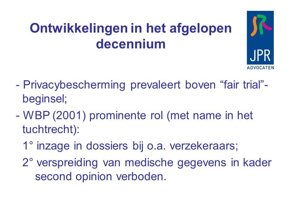 """Ontwikkelingen in het afgelopen decennium - Privacybescherming prevaleert boven """"fair trial""""- beginsel; - WBP (2001) prominente rol (met name in het t"""