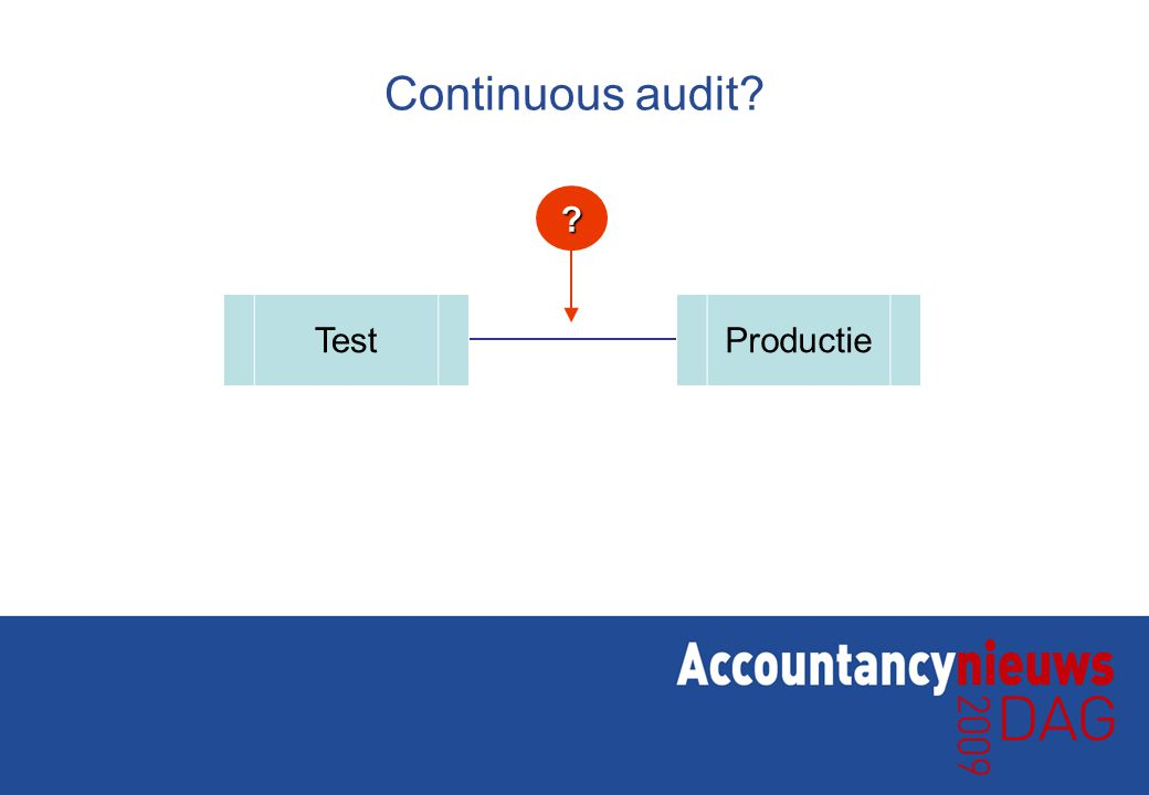 Continuous audit? TestProductie ?