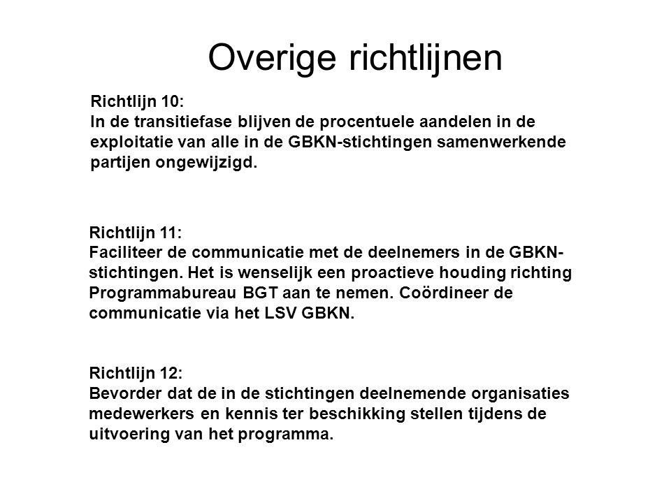 17 22-7-2014 Basisregistratie Grootschalige Topografie Overige richtlijnen Richtlijn 11: Faciliteer de communicatie met de deelnemers in de GBKN- stic