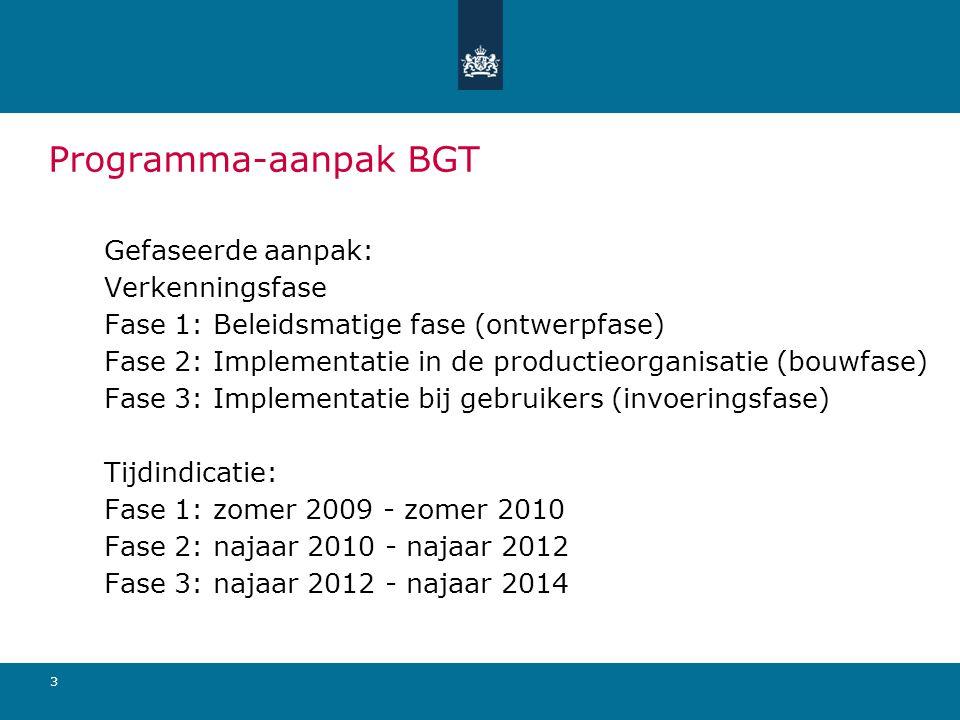 Programma-aanpak BGT Gefaseerde aanpak: Verkenningsfase Fase 1: Beleidsmatige fase (ontwerpfase) Fase 2: Implementatie in de productieorganisatie (bou