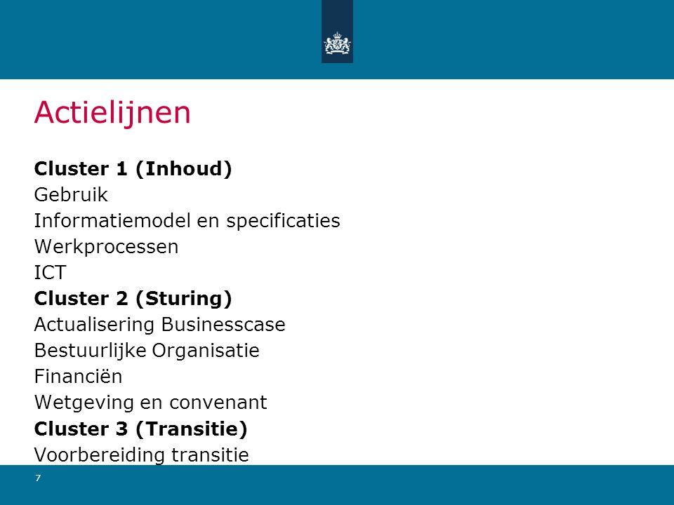 Actielijnen Cluster 1 (Inhoud) Gebruik Informatiemodel en specificaties Werkprocessen ICT Cluster 2 (Sturing) Actualisering Businesscase Bestuurlijke