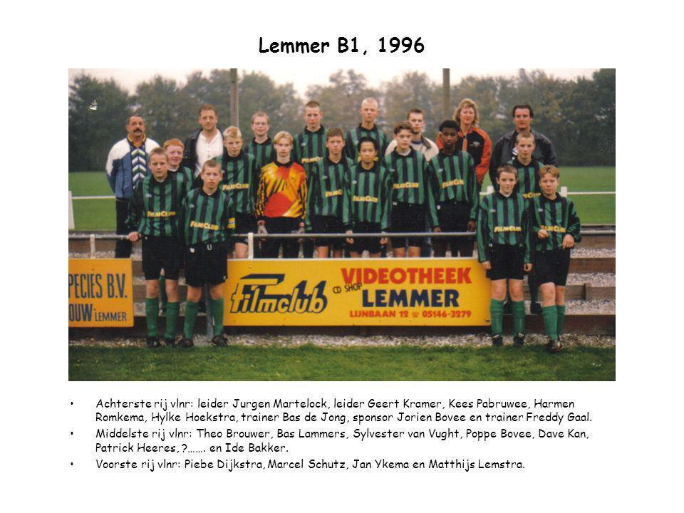 Lemmer B1, 1996 Achterste rij vlnr: leider Jurgen Martelock, leider Geert Kramer, Kees Pabruwee, Harmen Romkema, Hylke Hoekstra, trainer Bas de Jong,