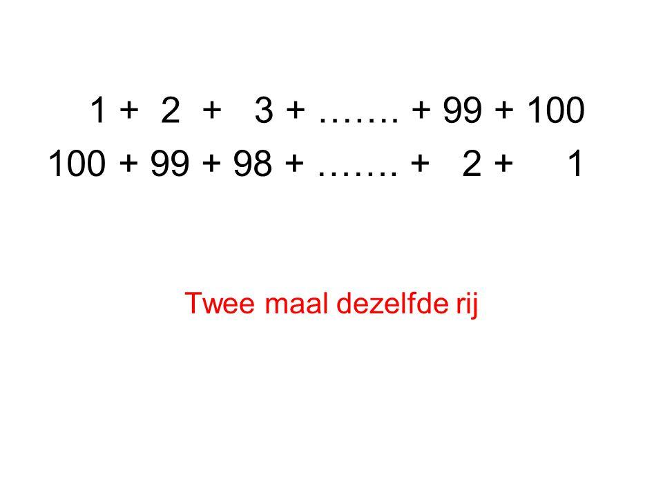 1 + 2 + 3 + ……. + 99 + 100 Twee maal dezelfde rij 100 + 99 + 98 + ……. + 2 + 1