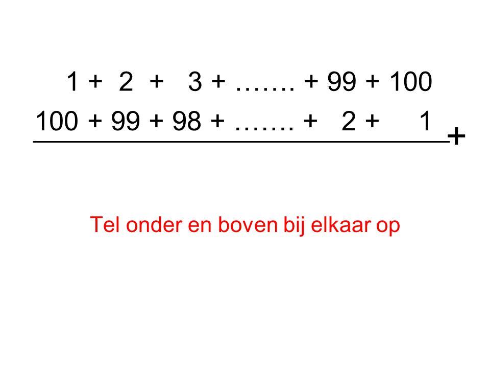 1 + 2 + 3 + …….+ 99 + 100 Dus komt er uit de som van de twee rijen bij ieder tweetal 101 uit.