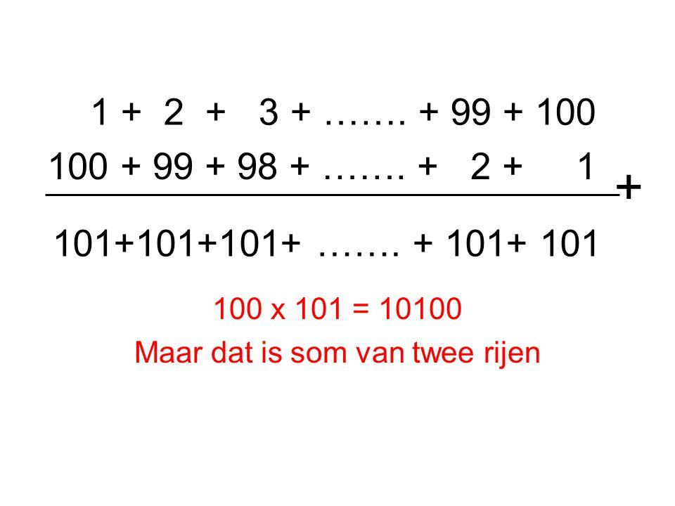 1 + 2 + 3 + ……. + 99 + 100 100 x 101 = 10100 Maar dat is som van twee rijen 100 + 99 + 98 + …….