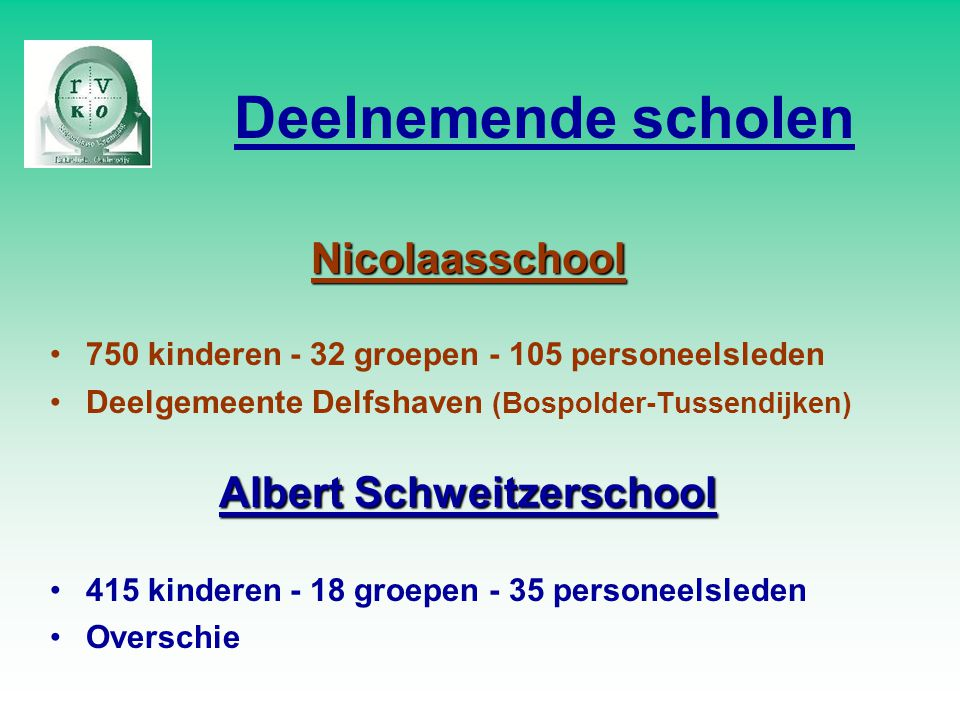 Deelnemende scholen Nicolaasschool 750 kinderen - 32 groepen - 105 personeelsleden Deelgemeente Delfshaven (Bospolder-Tussendijken) Albert Schweitzerschool 415 kinderen - 18 groepen - 35 personeelsleden Overschie