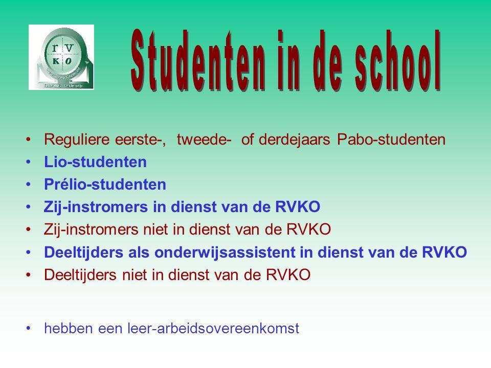 Reguliere eerste-, tweede- of derdejaars Pabo-studenten Lio-studenten Prélio-studenten Zij-instromers in dienst van de RVKO Zij-instromers niet in dienst van de RVKO Deeltijders als onderwijsassistent in dienst van de RVKO Deeltijders niet in dienst van de RVKO hebben een leer-arbeidsovereenkomst