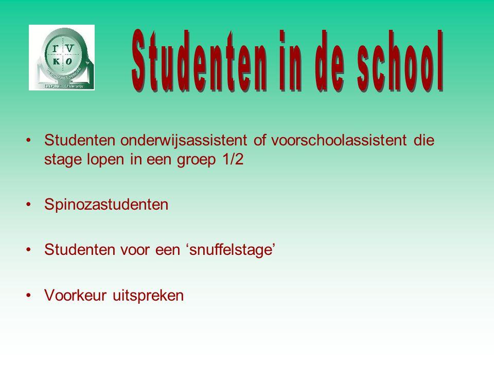 Studenten onderwijsassistent of voorschoolassistent die stage lopen in een groep 1/2 Spinozastudenten Studenten voor een 'snuffelstage' Voorkeur uitsp