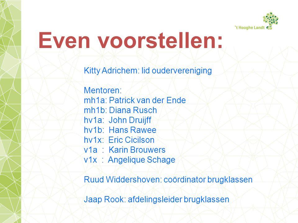 Even voorstellen: Kitty Adrichem: lid oudervereniging Mentoren: mh1a: Patrick van der Ende mh1b: Diana Rusch hv1a: John Druijff hv1b: Hans Rawee hv1x: Eric Cicilson v1a : Karin Brouwers v1x : Angelique Schage Ruud Widdershoven: coördinator brugklassen Jaap Rook: afdelingsleider brugklassen