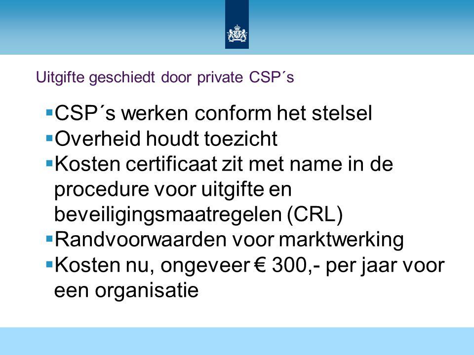 Uitgifte geschiedt door private CSP´s  CSP´s werken conform het stelsel  Overheid houdt toezicht  Kosten certificaat zit met name in de procedure v