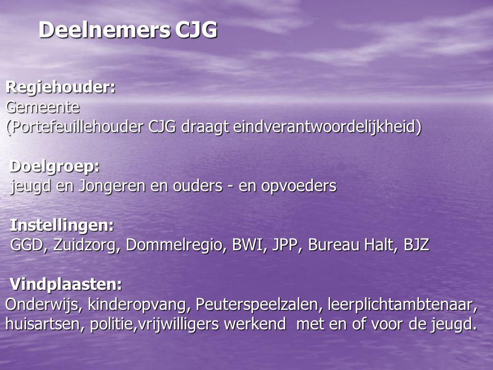 Deelnemers CJG Regiehouder:Gemeente (Portefeuillehouder CJG draagt eindverantwoordelijkheid) Doelgroep: Doelgroep: jeugd en Jongeren en ouders - en op