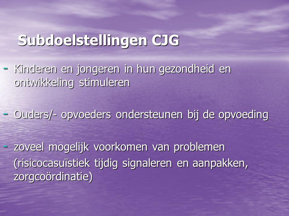 Subdoelstellingen CJG - Kinderen en jongeren in hun gezondheid en ontwikkeling stimuleren - Ouders/- opvoeders ondersteunen bij de opvoeding - zoveel