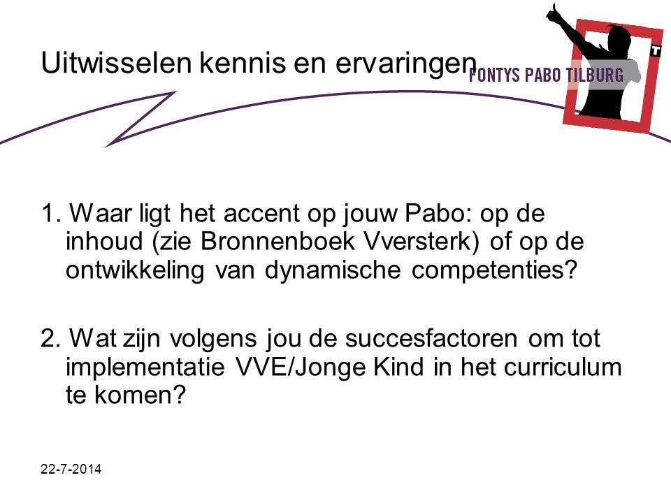 22-7-2014 Uitwisselen kennis en ervaringen 1. Waar ligt het accent op jouw Pabo: op de inhoud (zie Bronnenboek Vversterk) of op de ontwikkeling van dy