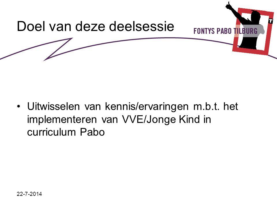 22-7-2014 Doel van deze deelsessie Uitwisselen van kennis/ervaringen m.b.t. het implementeren van VVE/Jonge Kind in curriculum Pabo