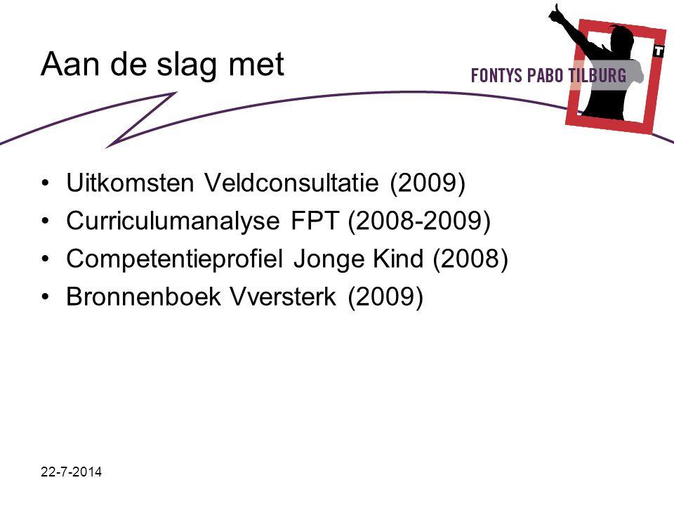 22-7-2014 Aan de slag met Uitkomsten Veldconsultatie (2009) Curriculumanalyse FPT (2008-2009) Competentieprofiel Jonge Kind (2008) Bronnenboek Vverste