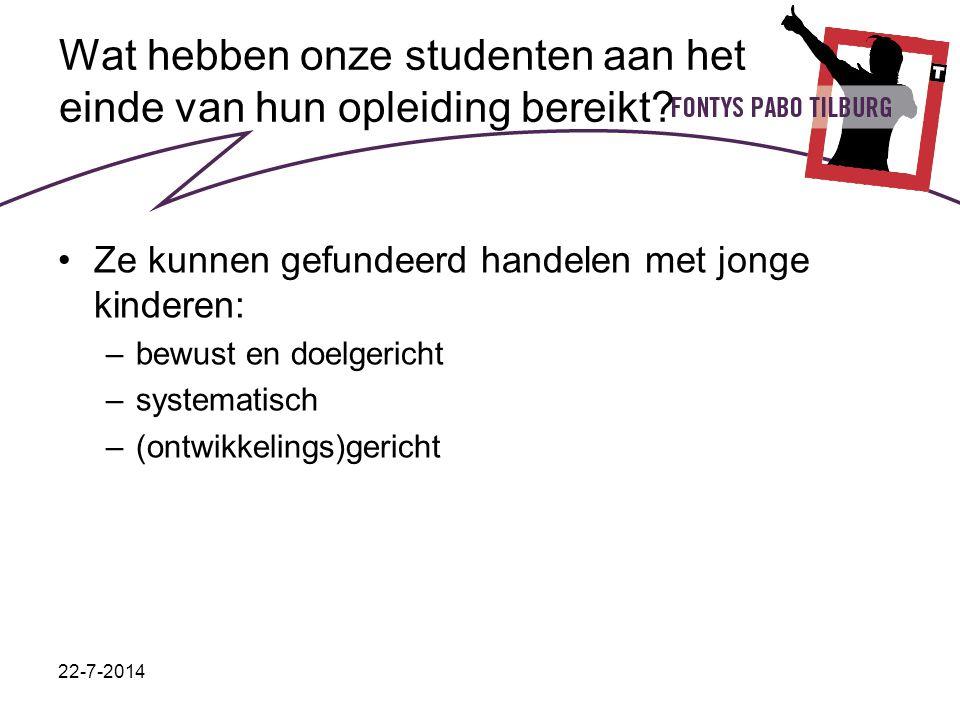 22-7-2014 Wat hebben onze studenten aan het einde van hun opleiding bereikt? Ze kunnen gefundeerd handelen met jonge kinderen: –bewust en doelgericht