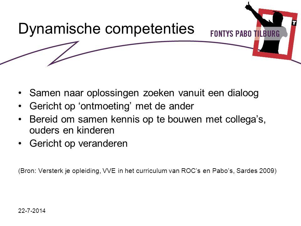 22-7-2014 Dynamische competenties Samen naar oplossingen zoeken vanuit een dialoog Gericht op 'ontmoeting' met de ander Bereid om samen kennis op te b