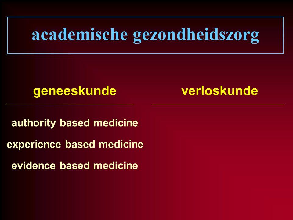 academische gezondheidszorg geneeskundeverloskunde authority based medicine experience based medicine evidence based medicine