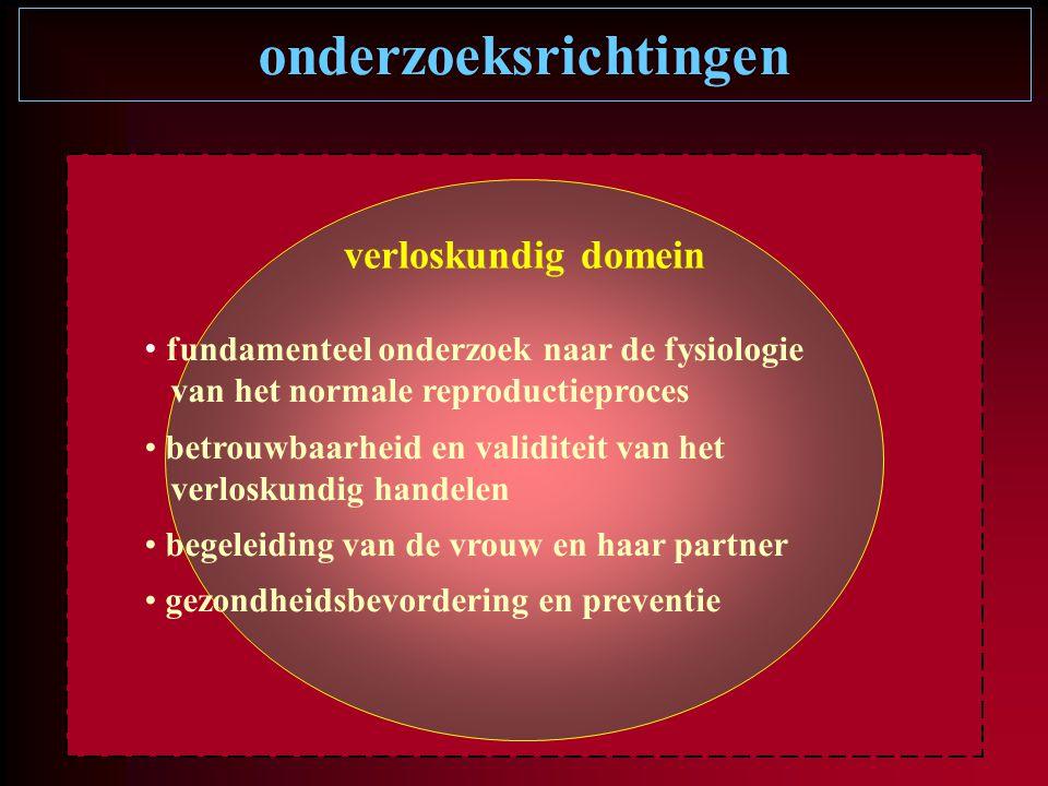 onderzoeksrichtingen verloskundig domein fundamenteel onderzoek naar de fysiologie van het normale reproductieproces betrouwbaarheid en validiteit van