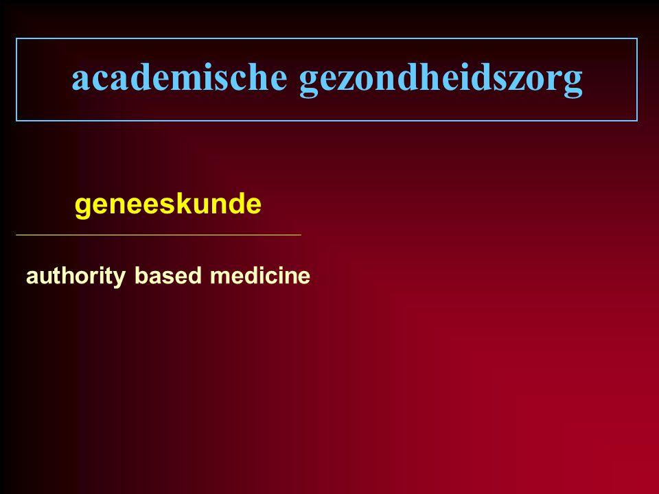 academische gezondheidszorg geneeskunde authority based medicine