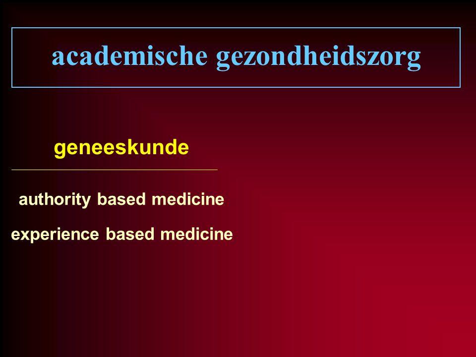academische gezondheidszorg geneeskunde authority based medicine experience based medicine