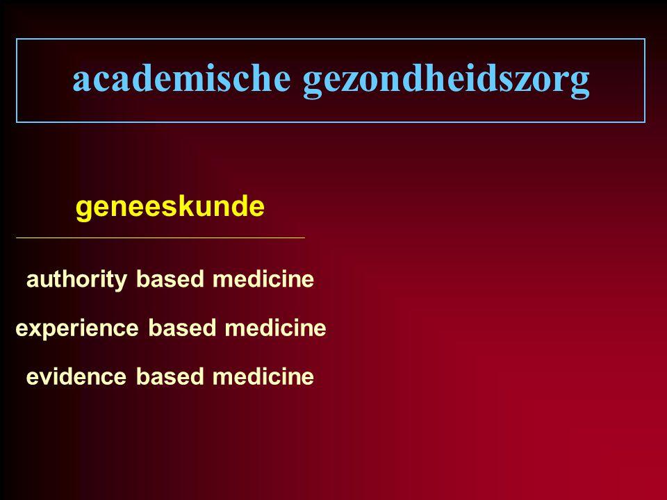 academische gezondheidszorg geneeskunde authority based medicine experience based medicine evidence based medicine
