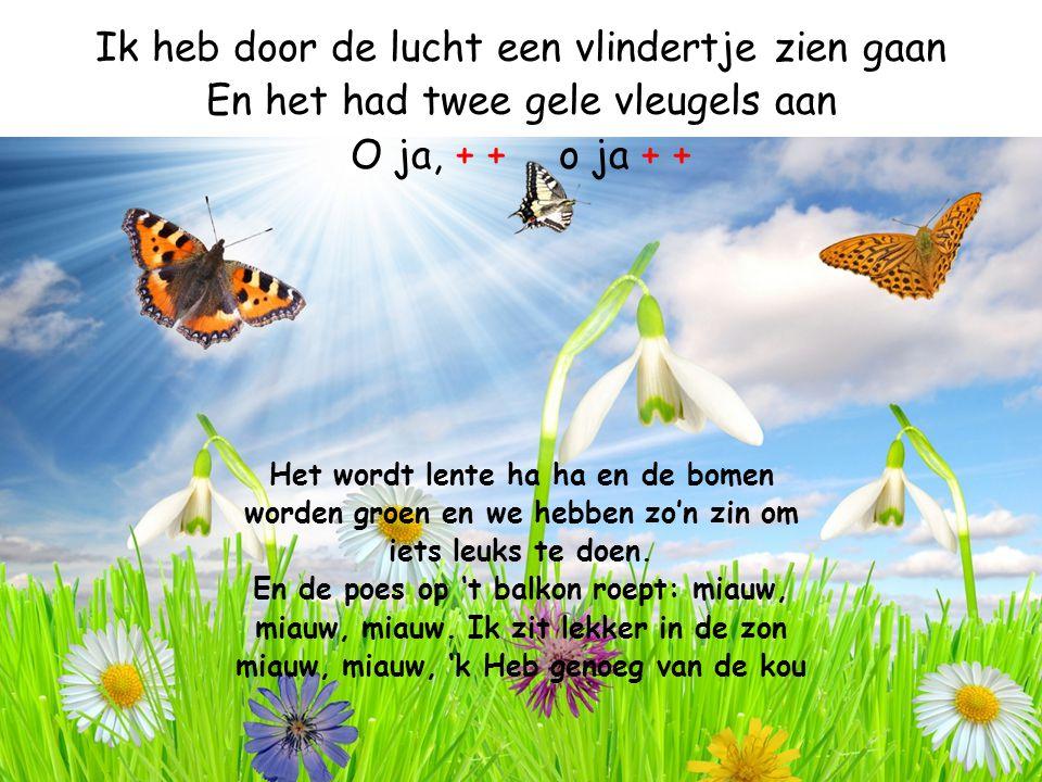 Ik heb door de lucht een vlindertje zien gaan En het had twee gele vleugels aan O ja, + +o ja + + Het wordt lente ha ha en de bomen worden groen en we