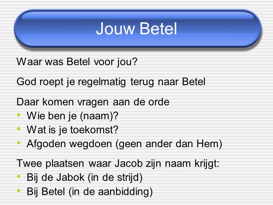 Jouw Betel Waar was Betel voor jou? God roept je regelmatig terug naar Betel Daar komen vragen aan de orde Wie ben je (naam)? Wat is je toekomst? Afgo