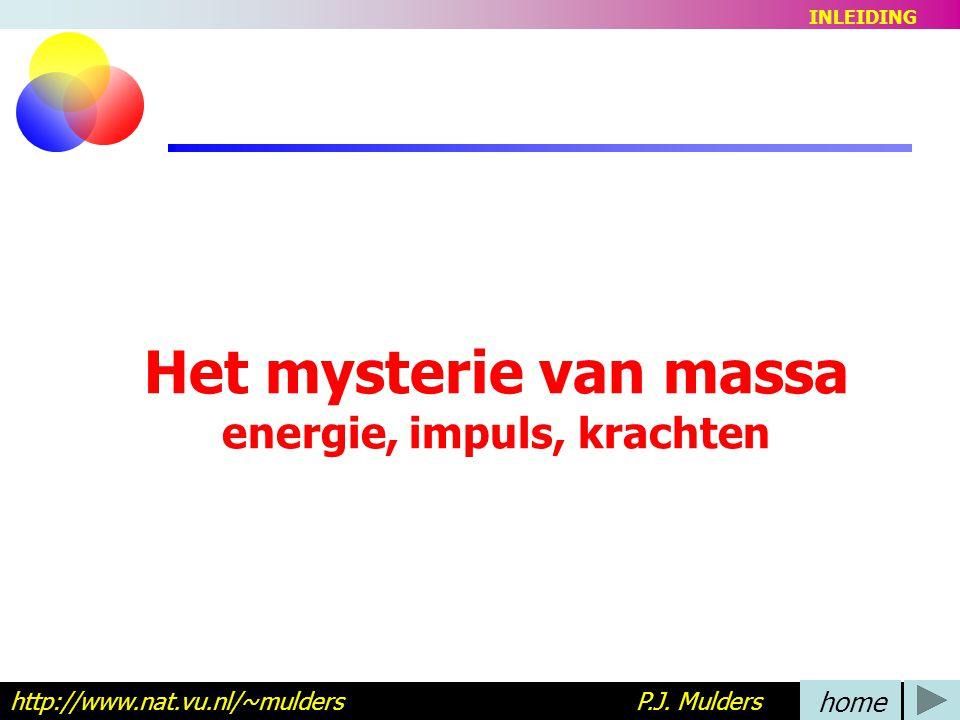 Het mysterie van massa energie, impuls, krachten http://www.nat.vu.nl/~mulders P.J.