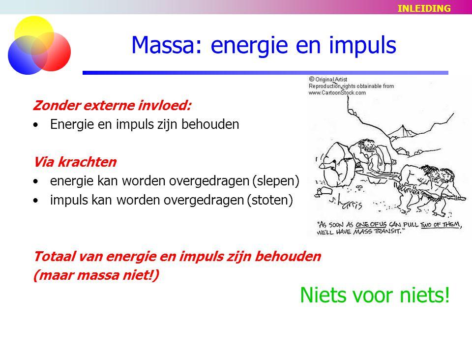Massa: energie en impuls Zonder externe invloed: Energie en impuls zijn behouden Via krachten energie kan worden overgedragen (slepen) impuls kan worden overgedragen (stoten) Totaal van energie en impuls zijn behouden (maar massa niet!) Niets voor niets.