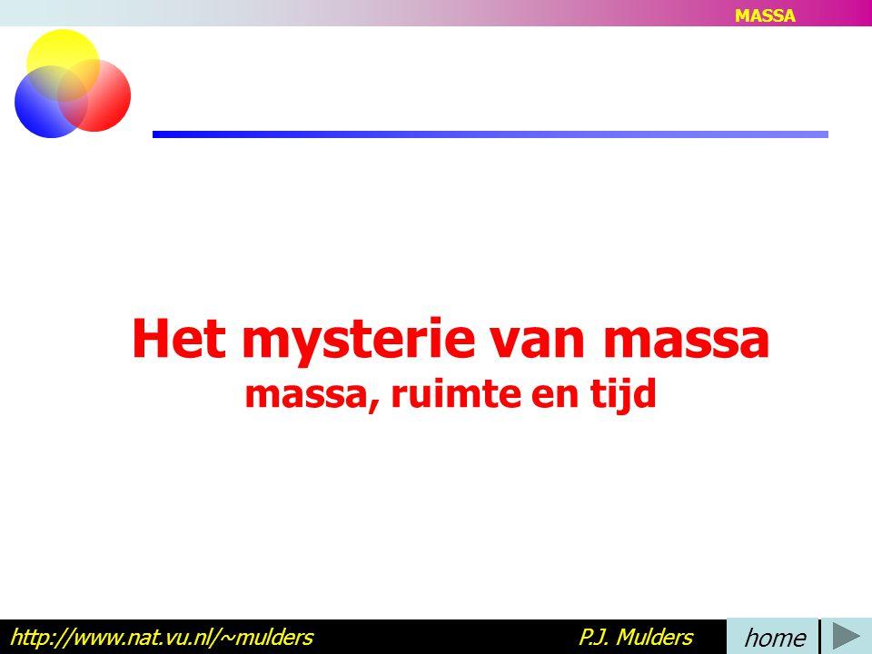 Het mysterie van massa massa, ruimte en tijd http://www.nat.vu.nl/~mulders P.J. Mulders home MASSA