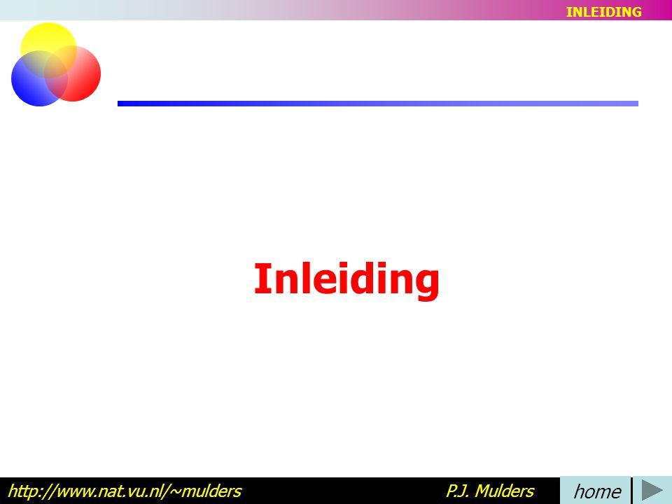 Inleiding http://www.nat.vu.nl/~mulders P.J. Mulders home INLEIDING