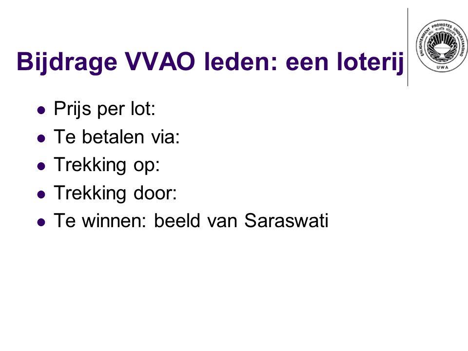 Bijdrage VVAO leden: een loterij Prijs per lot: Te betalen via: Trekking op: Trekking door: Te winnen: beeld van Saraswati