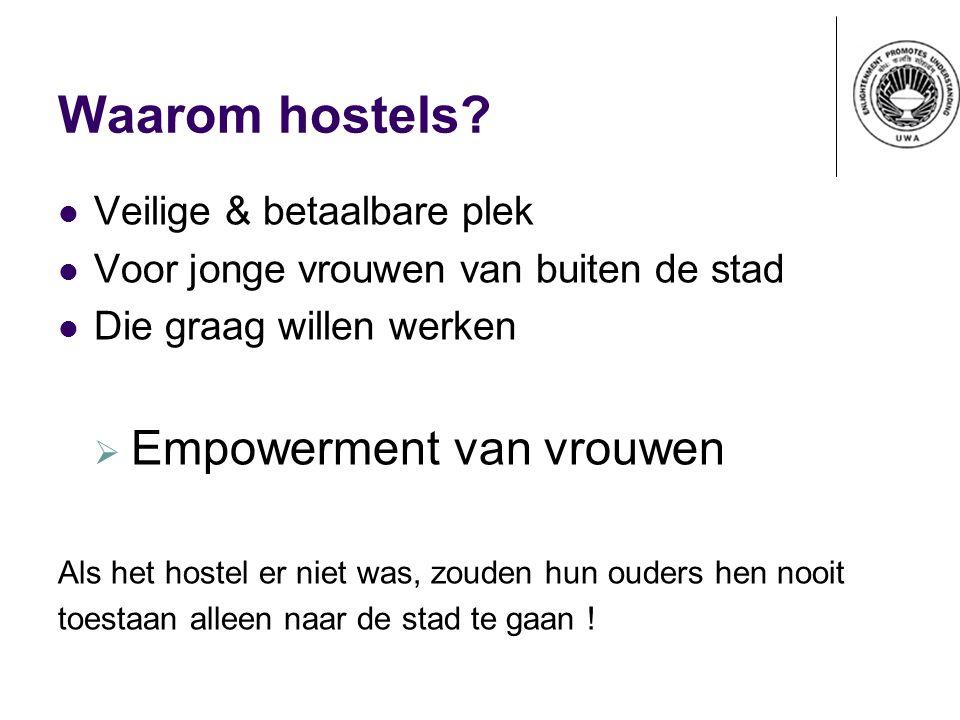 Waarom hostels? Veilige & betaalbare plek Voor jonge vrouwen van buiten de stad Die graag willen werken  Empowerment van vrouwen Als het hostel er ni
