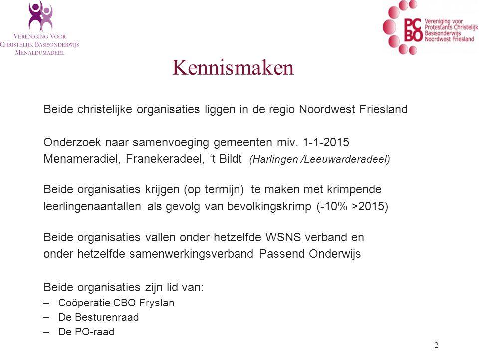 2 Beide christelijke organisaties liggen in de regio Noordwest Friesland Onderzoek naar samenvoeging gemeenten miv.