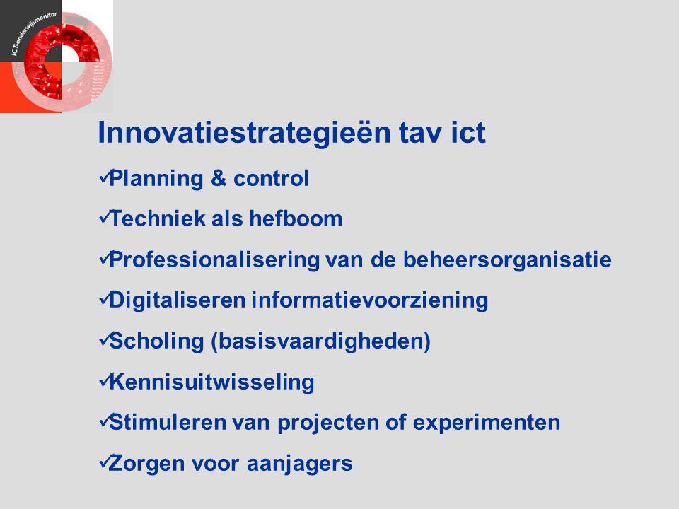 Innovatiestrategieën tav ict Planning & control Techniek als hefboom Professionalisering van de beheersorganisatie Digitaliseren informatievoorziening