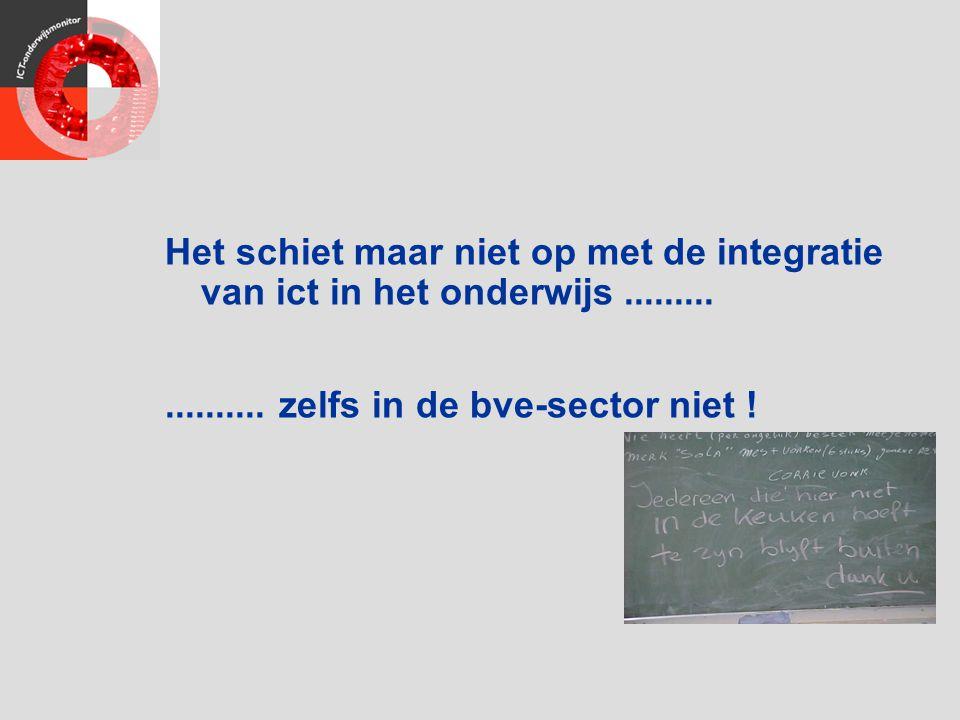Het schiet maar niet op met de integratie van ict in het onderwijs................... zelfs in de bve-sector niet !