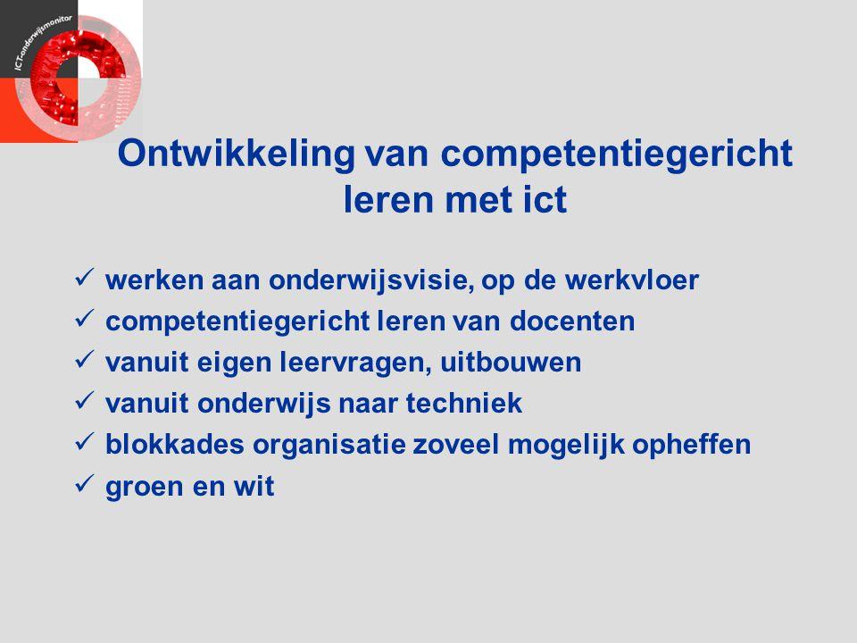 Ontwikkeling van competentiegericht leren met ict werken aan onderwijsvisie, op de werkvloer competentiegericht leren van docenten vanuit eigen leervr