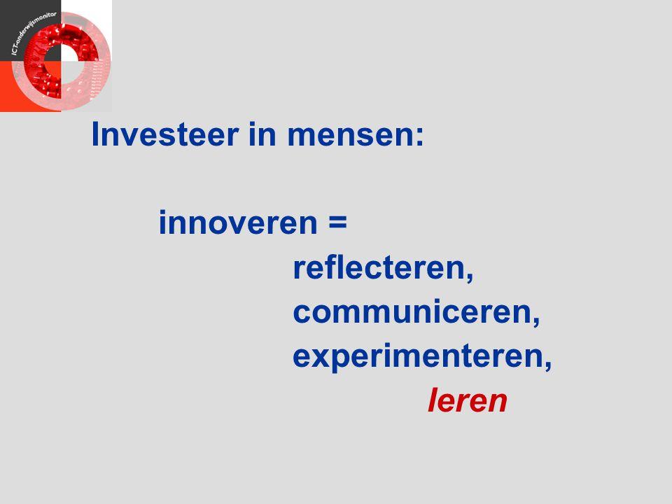 Investeer in mensen: innoveren = reflecteren, communiceren, experimenteren, leren