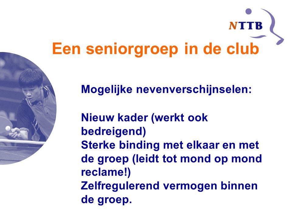 Een seniorgroep in de club Mogelijke nevenverschijnselen: Nieuw kader (werkt ook bedreigend) Sterke binding met elkaar en met de groep (leidt tot mond