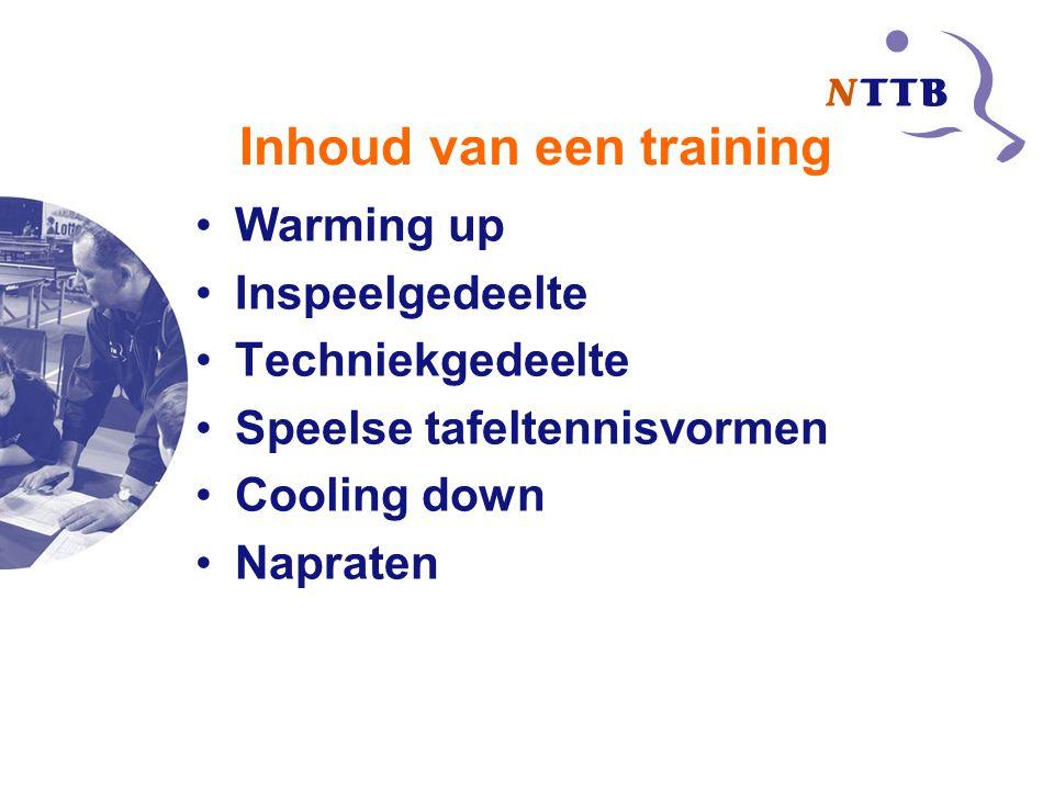 Inhoud van een training Warming up Inspeelgedeelte Techniekgedeelte Speelse tafeltennisvormen Cooling down Napraten