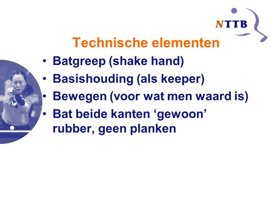 Technische elementen Batgreep (shake hand) Basishouding (als keeper) Bewegen (voor wat men waard is) Bat beide kanten 'gewoon' rubber, geen planken